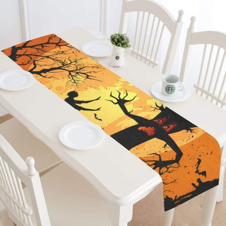 MKHERT Halloween Scary Tree Table Runner for Kitchen Wedding Party Home Decor 16x72 inch](Scary Trees For Halloween)