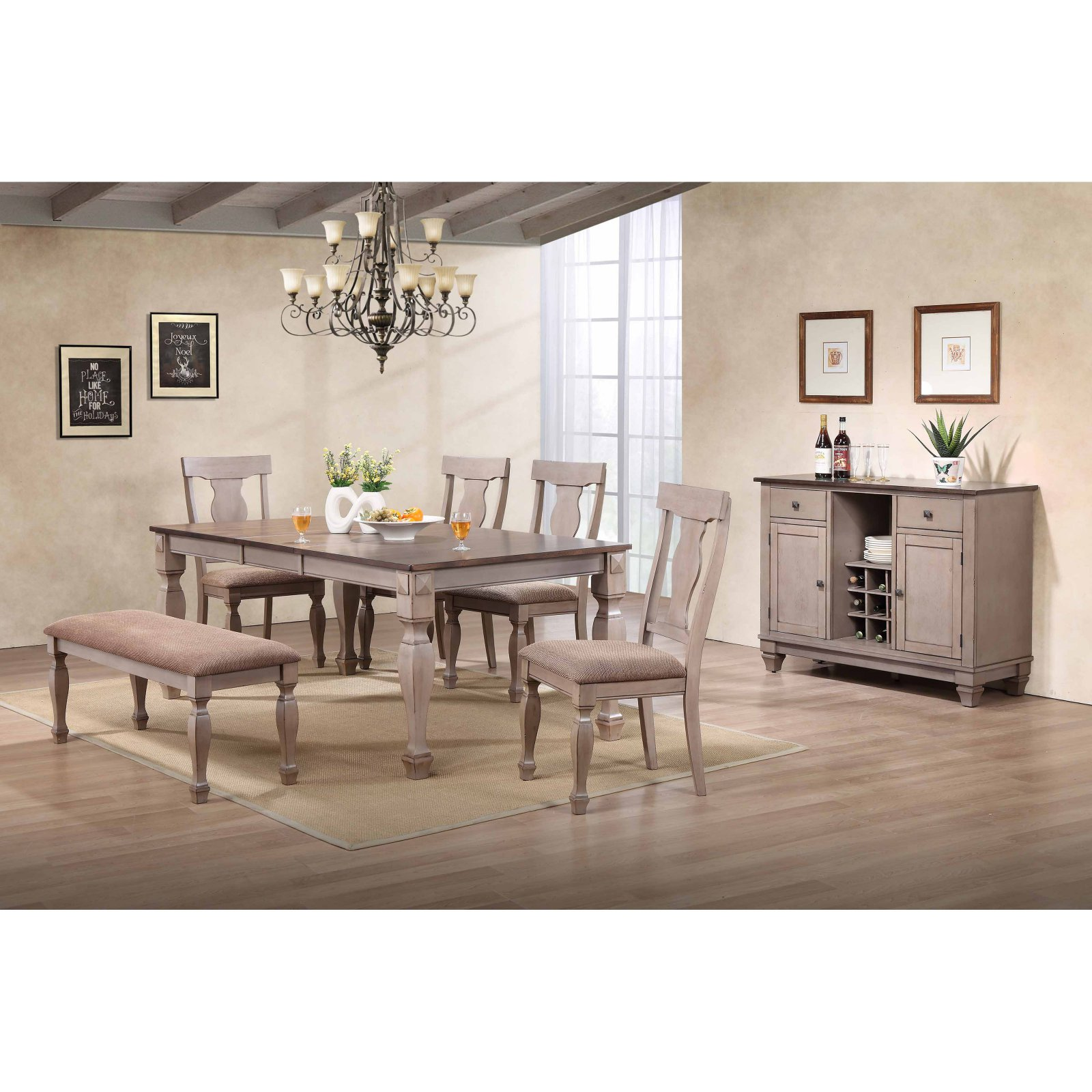 K&B Furniture 2-Tone Brown Wood Dining Table with Leaf