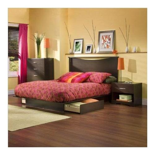 Dark Chocolate Queen Wood Storage Platform Bed 3 Piece Bedroom Set by South Shore