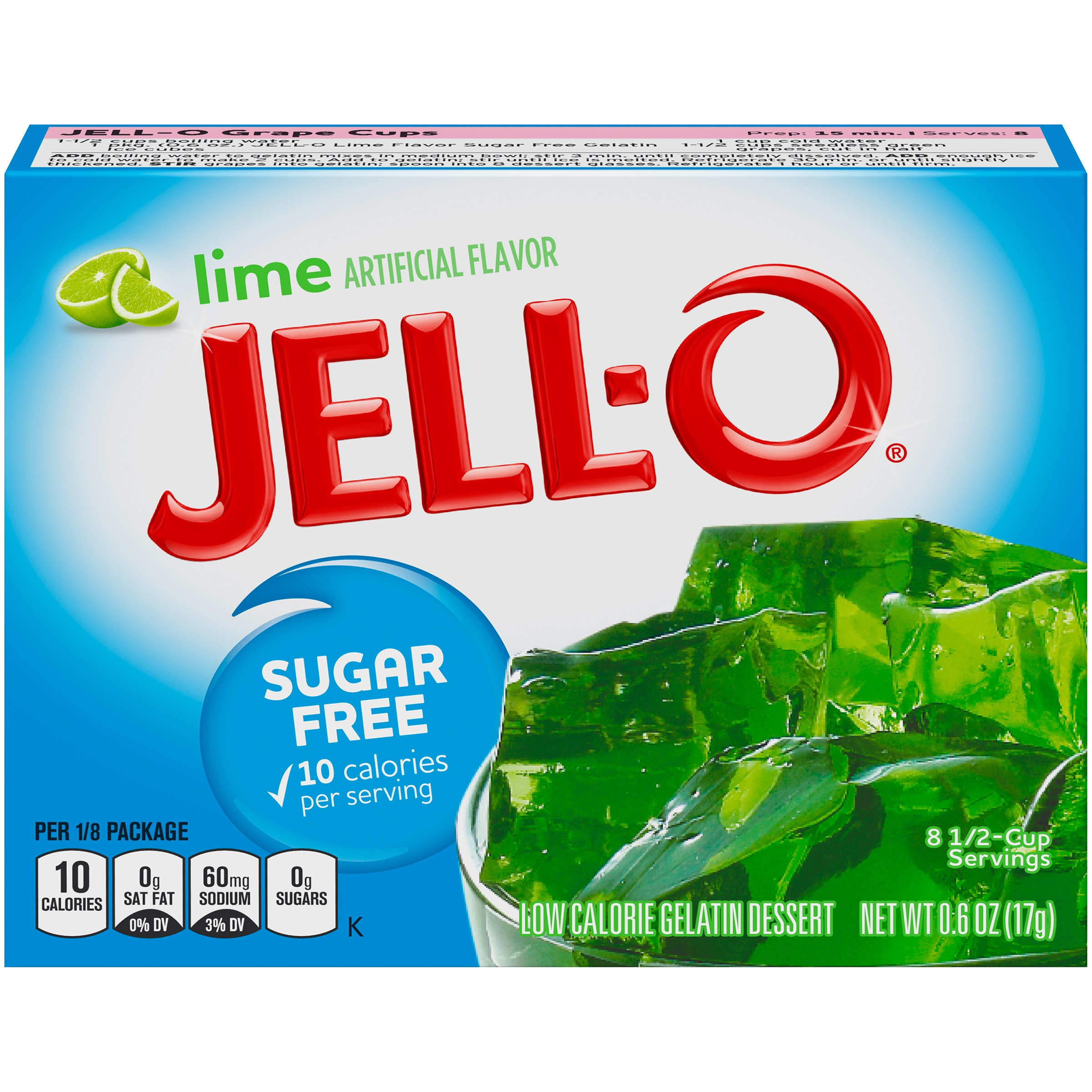 Jell-O Sugar Free Lime Low Calorie Gelatin Dessert Mix 0.6 oz. Box