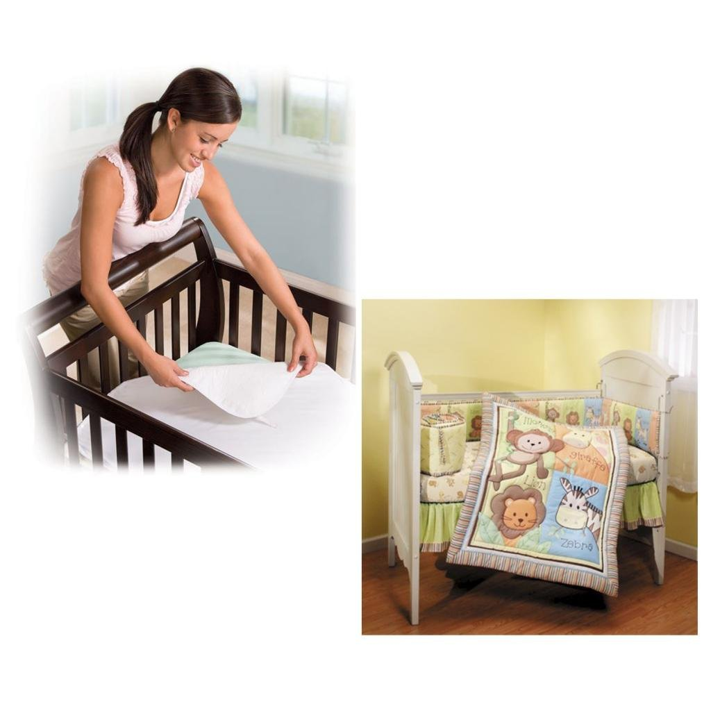 Summer Infant Monkey Jungle 4-Piece Crib Bedding Set with Crib Mattress Protector