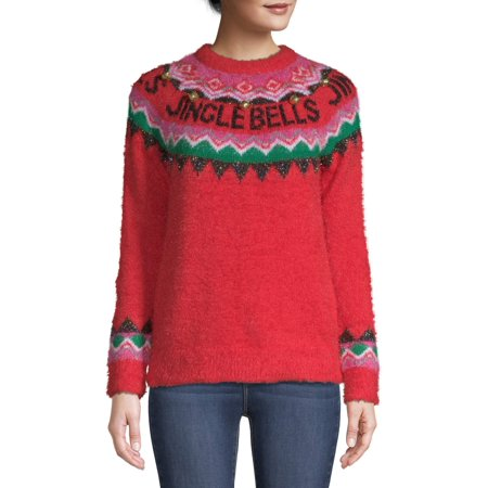 Holiday Time Women's Jingle Bells Fair Isle Ugly Christmas Sweater ()