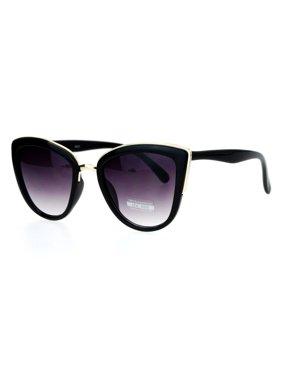 3227fbd05e Product Image SA106 Womens Metal Brow Trim Large Cat Eye Sunglasses Black  Gold