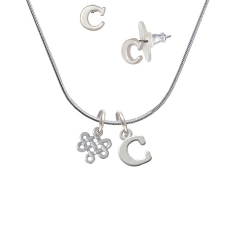 Mini Open Infinity Knot - C Initial Charm Necklace and Stud Earrings Jewelry Set