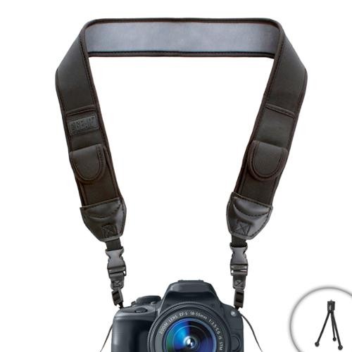 TrueSHOT Comfort Digital Camera Neck Strap with Neoprene Cushion Padding and Storage Pockets by USA Gear - Works With Nikon D7200 , D5500 , Coolpix P900 and More