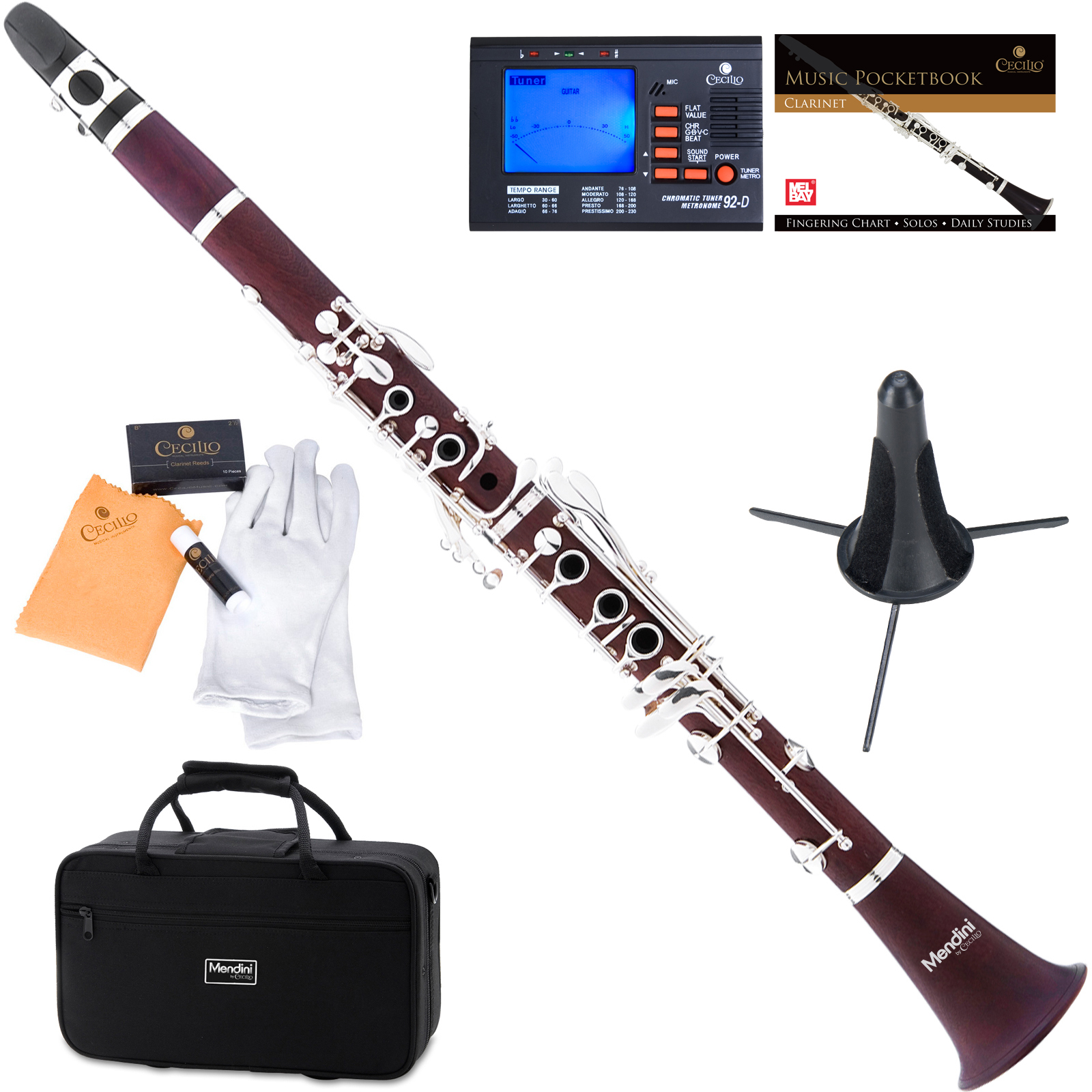 Mendini by Cecilio MCT-30 Rosewood Bb Clarinet w/Silver Plated Keys, Italian Pads, 1 Year Warranty, Stand, Tuner, 10 Reeds, Pocketbook, Mouthpiece, Case, B Flat