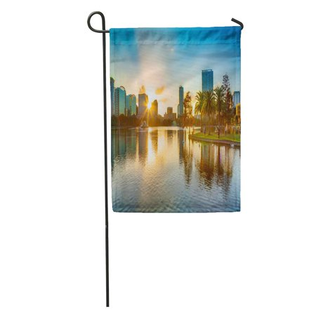 LADDKE Skyline Sunset at Orlando Florida Lake Downtown EOLA City Cityscape Garden Flag Decorative Flag House Banner 12x18 inch ()