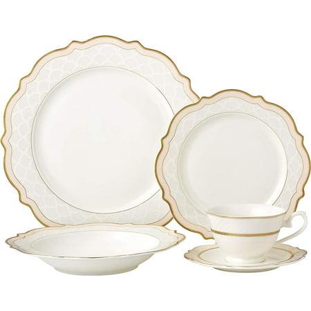 Royalty Porcelain Vintage Wave Shape 5-pc Place Setting 'Pink Blush', Premium Bone China Porcelain Pink Bone China