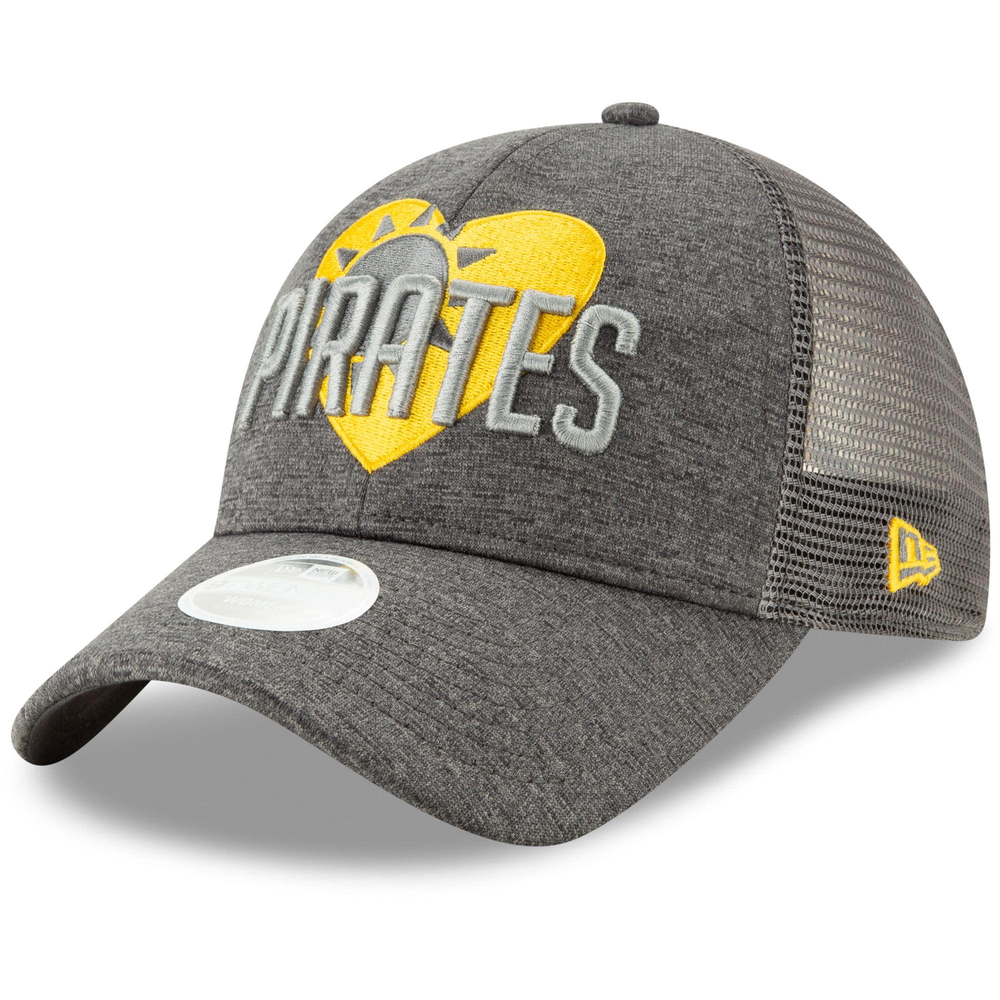 Pittsburgh Pirates New Era Women's Sunny Snapped Love 9TWENTY Adjustable Trucker Hat - Graphite/Yellow - OSFA