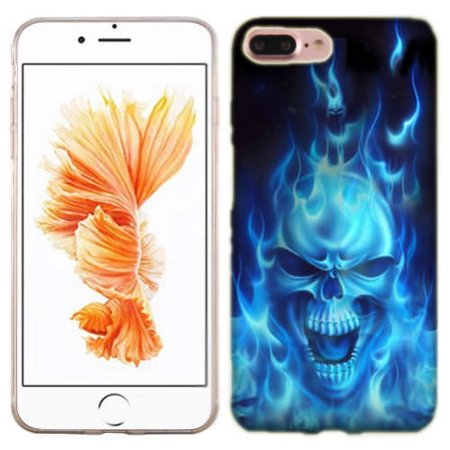 best service 274fc 9c6dd MUNDAZE Blue Flaming Skull Case Cover For Apple iPhone 8 PLUS