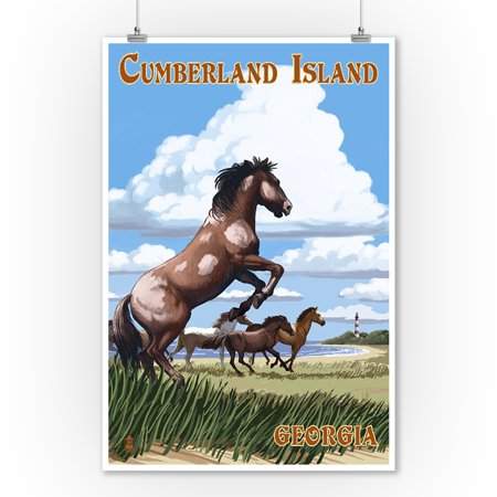 Cumberland Island, Georgia - Wild Horses - Lantern Press Artwork (9x12 Art Print, Wall Decor Travel (Wild Horses Of Sable Island Prints For Sale)