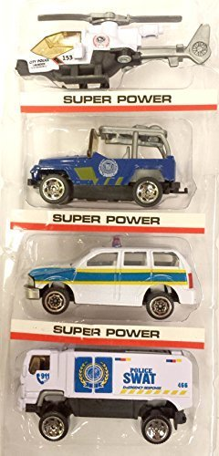4in1 1:64 Speed Hot Wheel Toy Car Vechicle Figure Combo City Police Special Unit Force... by