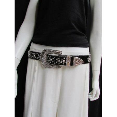 A New Women Black Leather Western Cross Rhinestones Belt Silver Buckle 33-38 L
