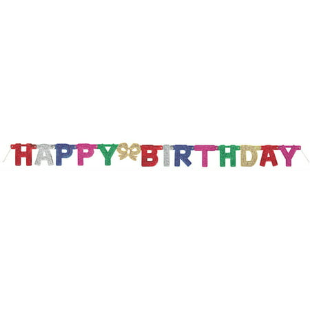 12' Glitter Happy Birthday - Baseball Happy Birthday Banner