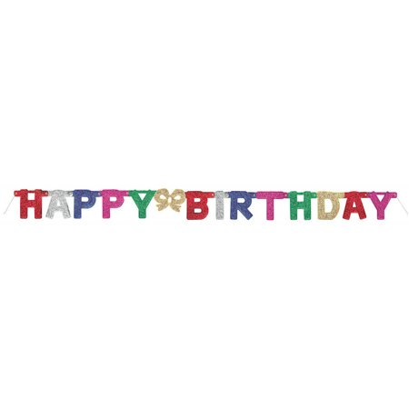 12' Glitter Happy Birthday Banner - Happy Birthday Chica