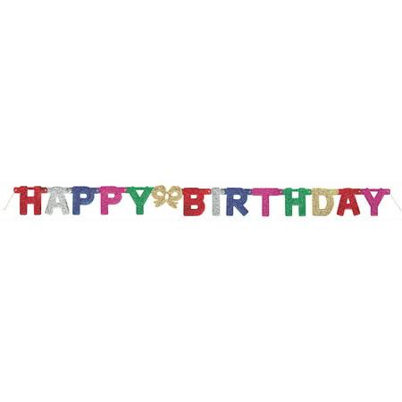 12' Glitter Happy Birthday Banner - Curious George Birthday Banner
