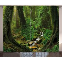 Nature Decor Curtains 2 Panels Set, Wonderland Forest Nepal Asian Jungle Rainforests Habitat Wild Primeval Picture, Window Drapes for Living Room Bedroom, 108W X 84L Inches, Green, by Ambesonne