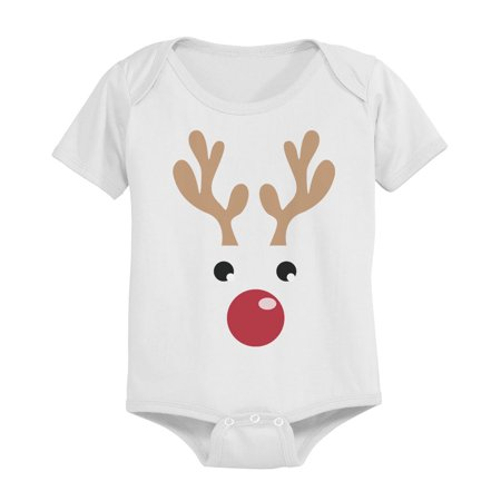Rudolph Baby Christmas White Onesie Great Gift Idea for Holidays