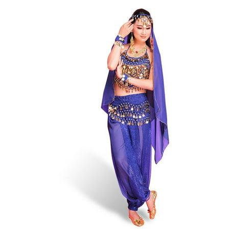 f26652be1 CoastaCloud Women Set of 4 Pcs Lake Blue Belly Dance India Dance Dress  Skirt Bra-Free Costume Performance Halter Top Harem Pants Trousers with  Waist Belt + ...