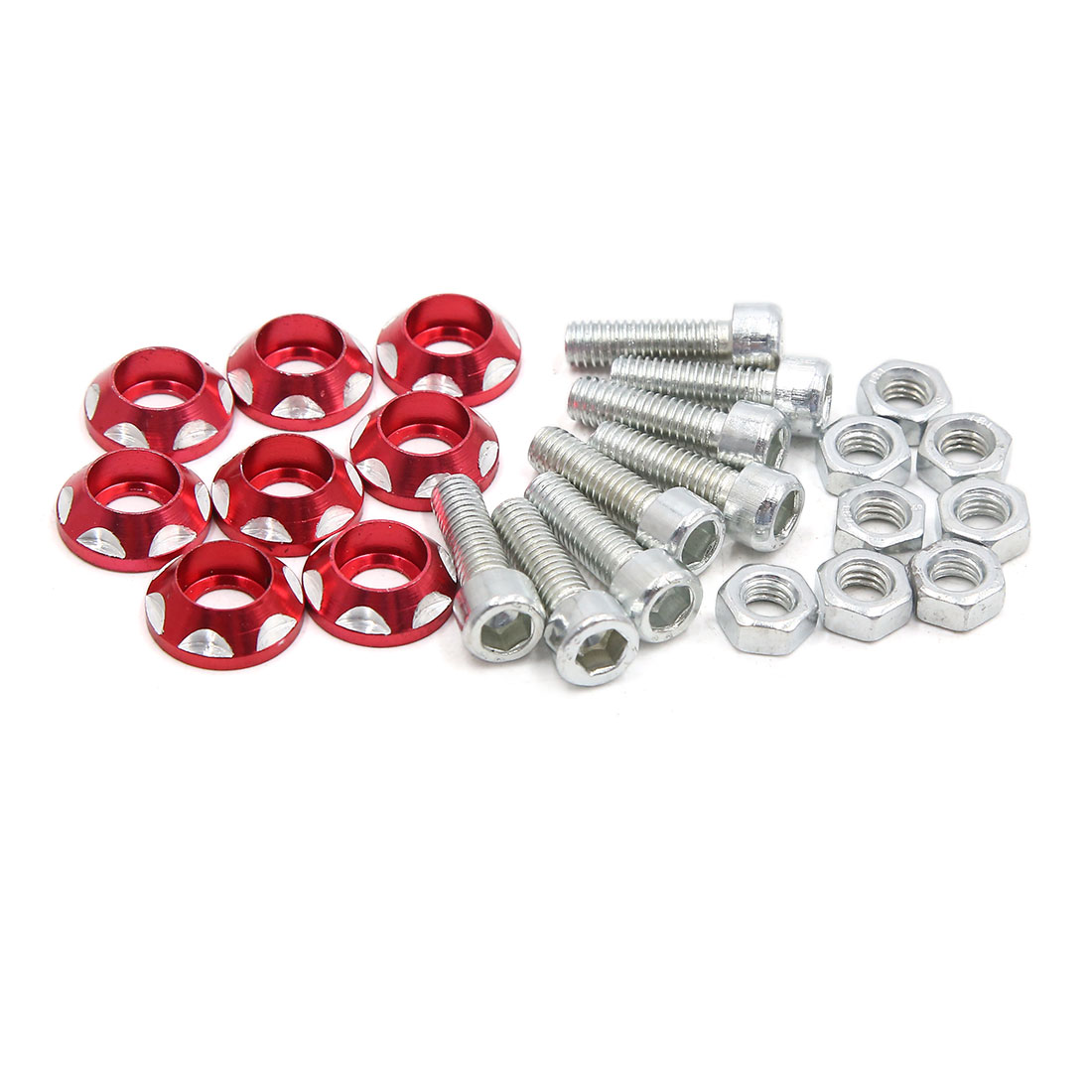 8pcs Red Carved Design Hex Socket License Plate Bolts Screws for Motorcycle