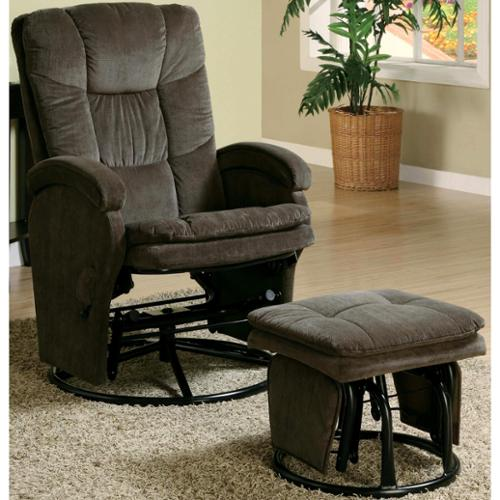 Mac Motion Relax R Leaf Fabric Swivel Glider Recliner With Ottoman Leaf Upholstered