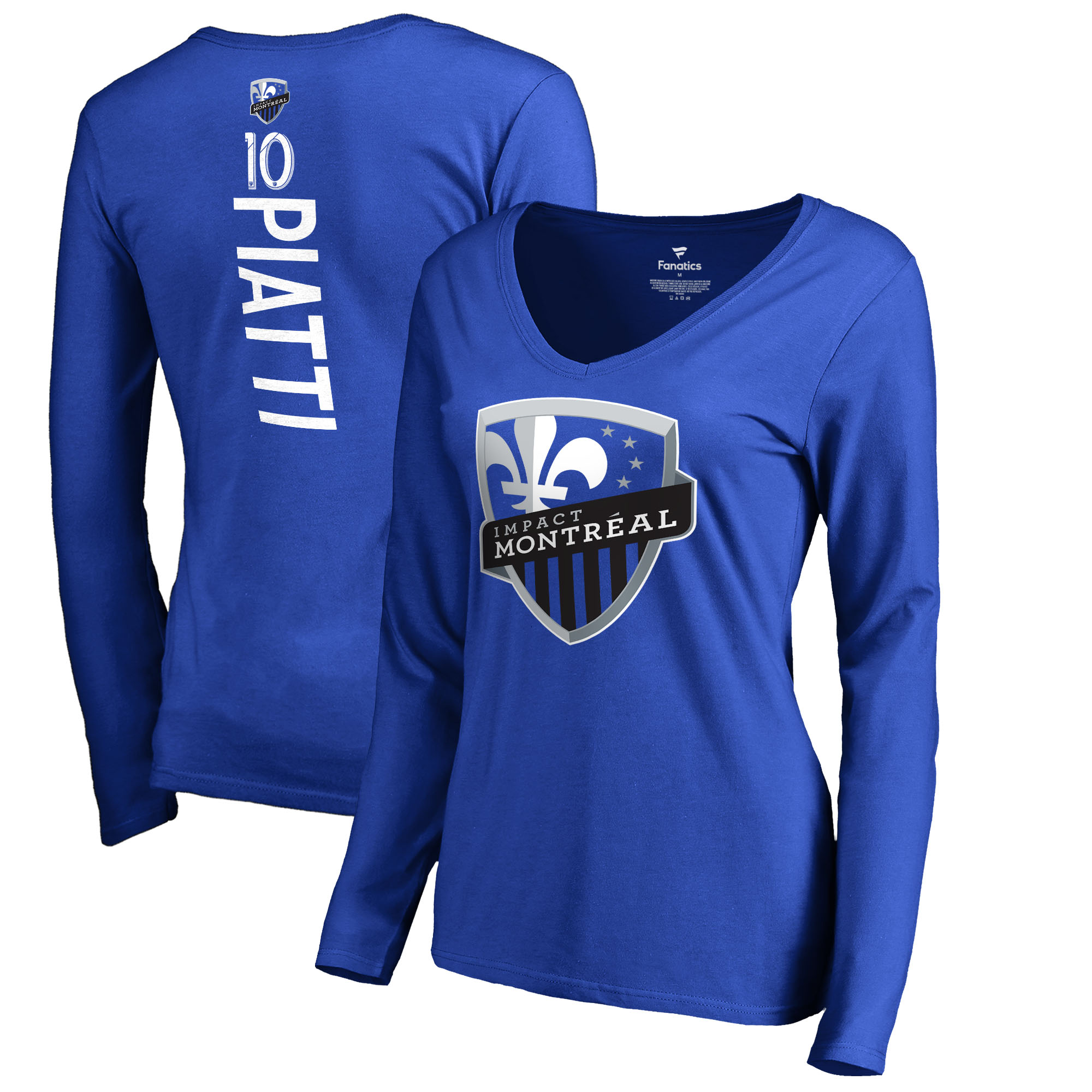 Ignacio Piatti Montreal Impact Fanatics Branded Women's Backer Name & Number Long Sleeve V-Neck T-Shirt - Blue