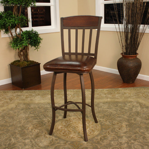 American Heritage Lancaster 24'' Swivel Bar Stool with Cushion