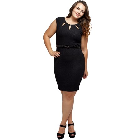 Stylzoo Women\'s Junior Plus Size Cut Out Cap Sleeve Dress