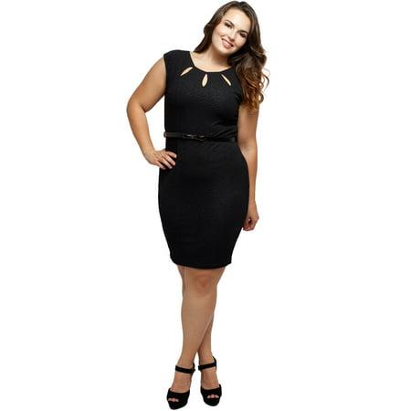 Stylzoo Women's Junior Plus Size Cut Out Cap Sleeve Dress