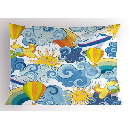 Sky Pillow Sham Childrens Theme Clouds Smiling Sun Airplanes and Balloons Illustration Print, Decorative Standard Size Printed Pillowcase, 26 X 20 Inches, Yellow and Pale Blue, by Ambesonne