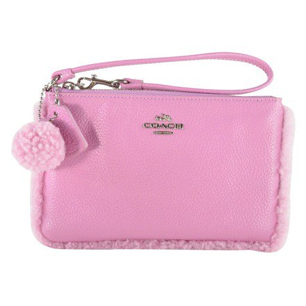 Coach Shearling Leather Small Wristlet