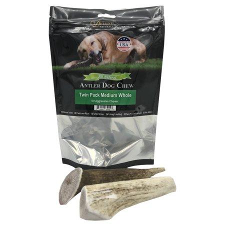 Deluxe Naturals Elk Antler Dog Chew Twin Pack, Medium Whole Antlers Deluxe Easter Treats