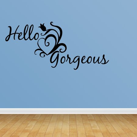 Wall Decal Quote Hello Gorgeous Cute Hearts Happy Love Girl's Room Saying R46
