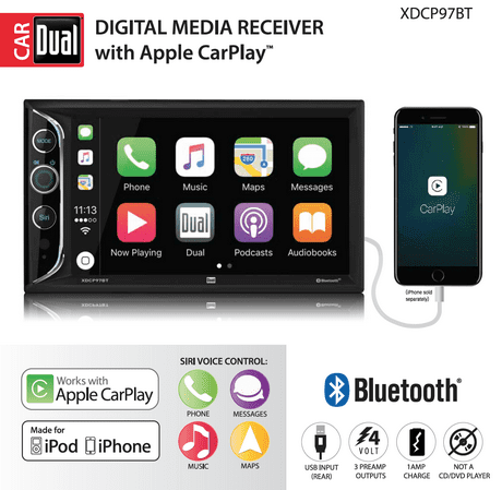 Dual Electronics XDCP97BT 6.2 inch LED Backlit LCD Digital Multimedia Touch Screen Double DIN Car Stereo with Built-In Apple CarPlay, Bluetooth & USB Port