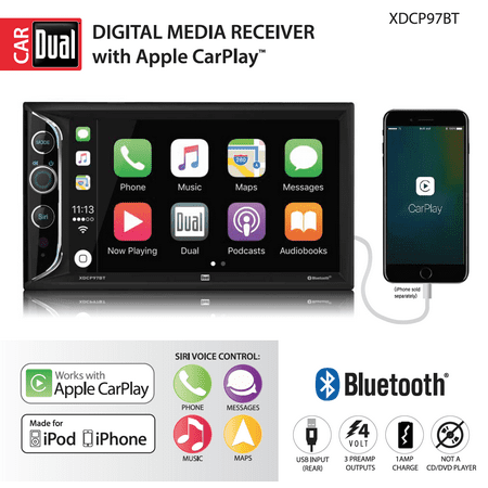 Dual Electronics XDCP97BT 6.2 inch LED Backlit LCD Digital Multimedia Touch Screen Double DIN Car Stereo with Built-In Apple CarPlay, Bluetooth & USB Port (Alpine Iphone Car Stereo)