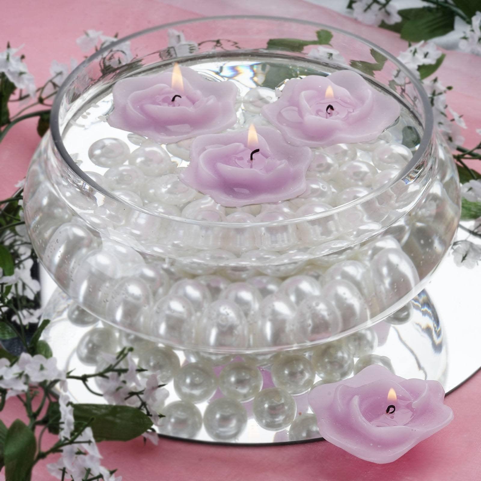 """Set of 12 Unscented 3/"""" Floating Disc Candles Rose Gold Mega Candles"""