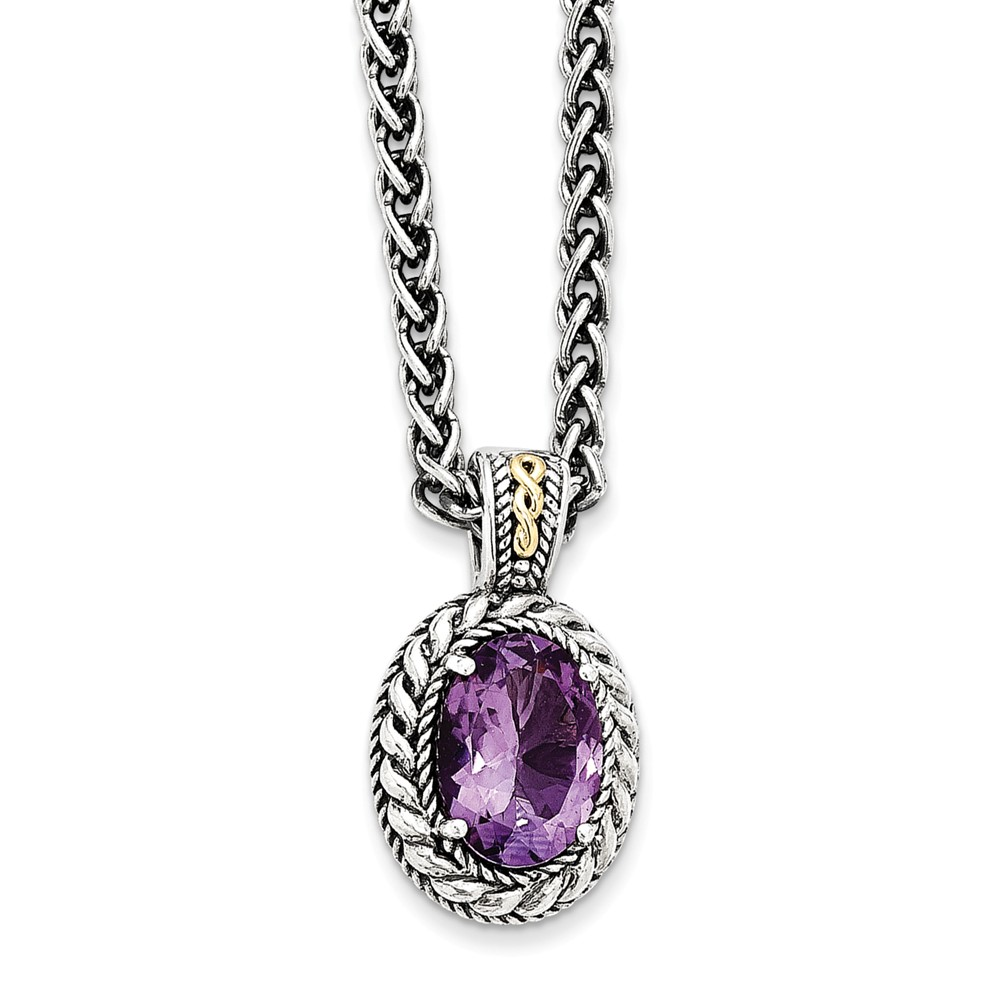 "14K Gold and 925 Sterling Silver with Antiqued Amethyst Necklace -18"" (18in x 3mm) by"