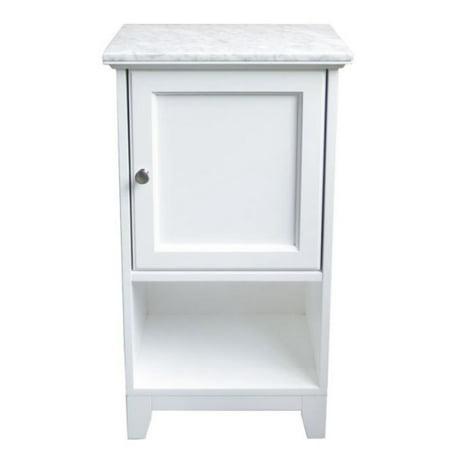 Carrara Marble Top Floor Cabinet in White