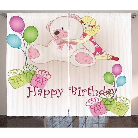Birthday Decorations for Kids Curtains 2 Panels Set, Baby Girl Birthday on