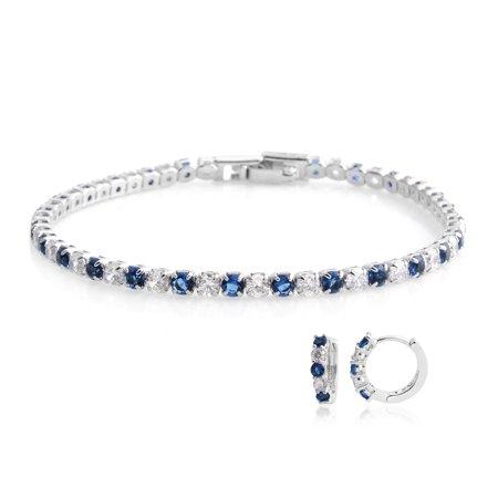 Silvertone Cubic Zirconia CZ Round Created Emerald Earrings Bracelet 7