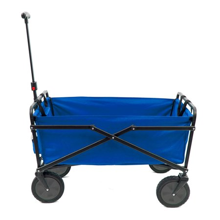 Seina Manual 150 Pound Capacity Heavy Duty Folding Outdoor Utility Cart, Blue