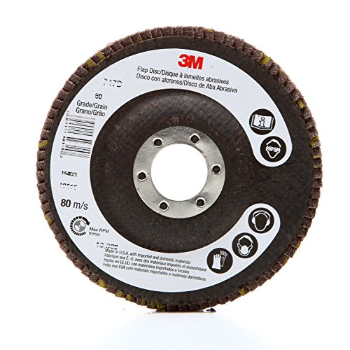 "3M 61058 Flap Disc 747D  Quick Change, 4-1/2"" x 5/8-11"" Internal 60 X-weight, Cloth Backing, Ceramic, Abrasive Grit (Pack of 10)"