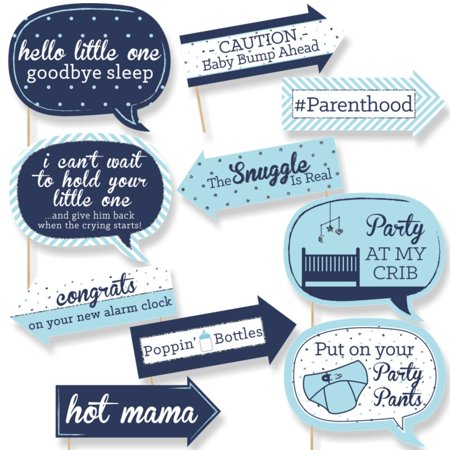 Funny Hello Little One - Blue and Silver - Boy Baby Shower Photo Booth Props Kit - 10 - Boy Baby Shower Kits