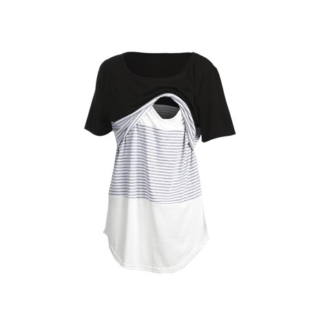 Women Short Sleeve Round Neck Nursing Tops Shirts Triple Color Block Stripe Breastfeedint Materinity T-Shirt Blouse