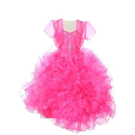 Rain Kids Fuchsia Rose Ruffled Corset Organza Pageant Dress Girls - Biker Girl Corset