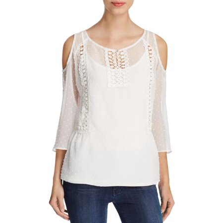 Status by Chenault Womens Sheer Crochet Inset Peplum Top Ivory XS