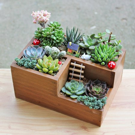 Retro Style Wooden Succulent Plants Square Flower Pot Garden Handmade