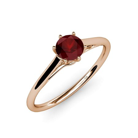 Red Garnet Six Prong Solitaire Ring 1.05 ct in 14K Rose Gold.size 8.0