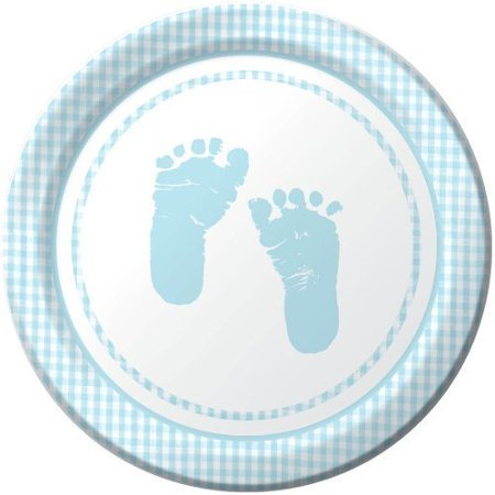 Plaid It's a Boy Footprints Lunch Plates, 8ct, Baby Shower Supplies and Decor, By Creative Converting (Baby Footprint)