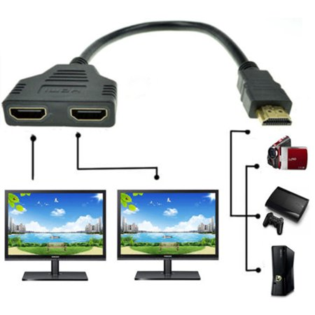 1080P HDMI 1 Male To Dual Female adapter Splitter cable Converter for PS2 PS3 PS4 Xbox HDTV -